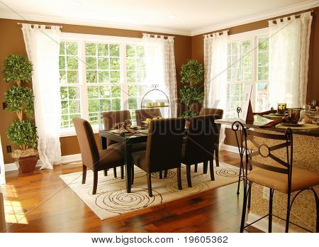 A beautiful dinning room with lots of natural light