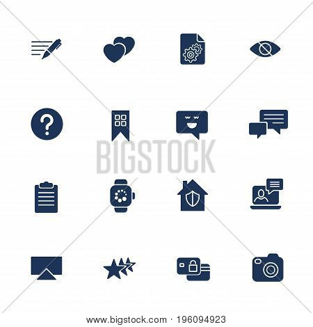 Universal Web Icons To Use In Web And Mobile Ui, Set Of Basic Ui Web Elements Note, Comment, Camera,