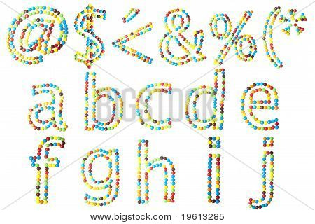 Abc In Lower Caps Made Of Candy Isolated On White..1 Of 2