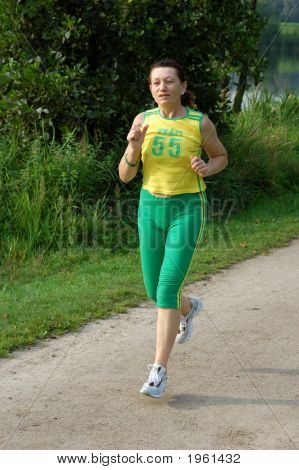Fit Senior Woman Jogging