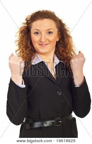 Mulher de negócios bem sucedido de alegre