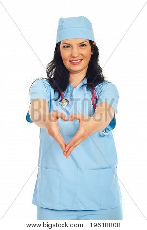 Doctor Woman Forming Heart Shape