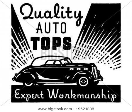 Quality Auto Tops - Retro Ad Art Banner