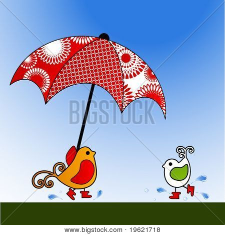 Sweet birds with rubber  boots running for cover under beautiful umbrella