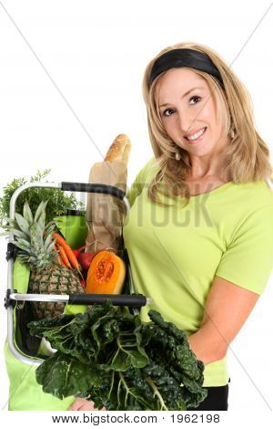 Woman Displaying Bag Full Of Groceries