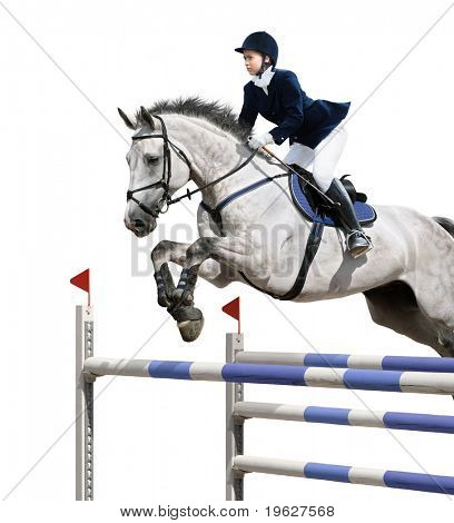 Young girl jumping with grey horse - isolated on white