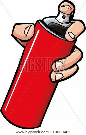 Cartoon Hand Holding A Spraycan
