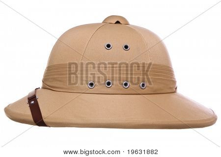 Photo of a pith helmet cut out on a white background