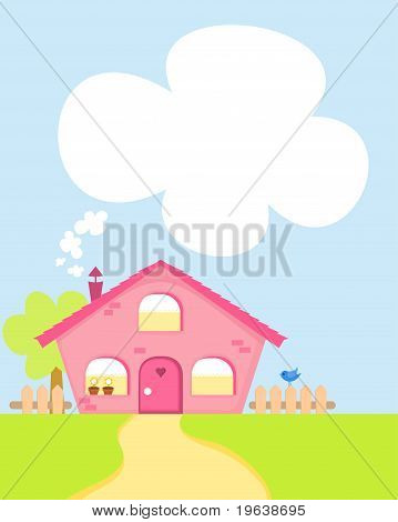 Cute cartoon house with copy-space