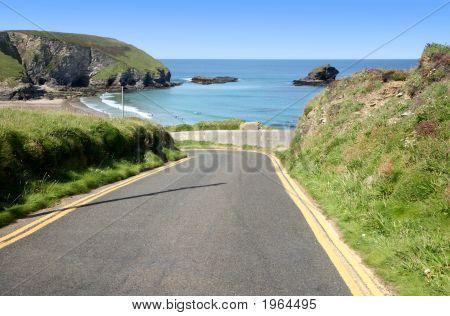 Narrow Steep Road To Portreath, Cornwall, Uk.