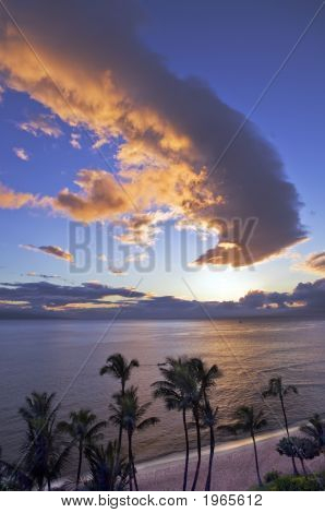 Sunset Over Kaanapali Beach In Maui