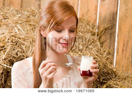 Young Healthy Woman With Natural Yoghurt Country