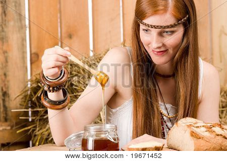 Red-hair Young Hippie Woman Breakfast In Barn