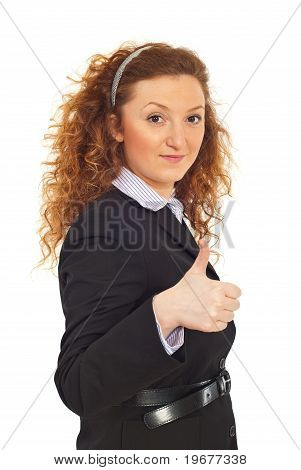 Smiling Business Woman Giving Thumbs