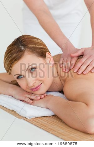Beautiful Blond-haired Woman Getting A Massage