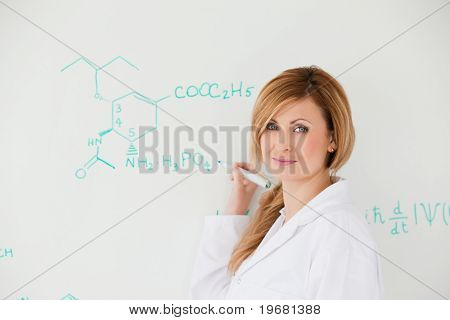 Female Scientist Looking At The Camera While Writing A Formula On A White Board