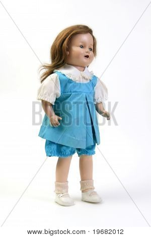 Vintage Girl Baby Doll Wearing Blue & White Dress
