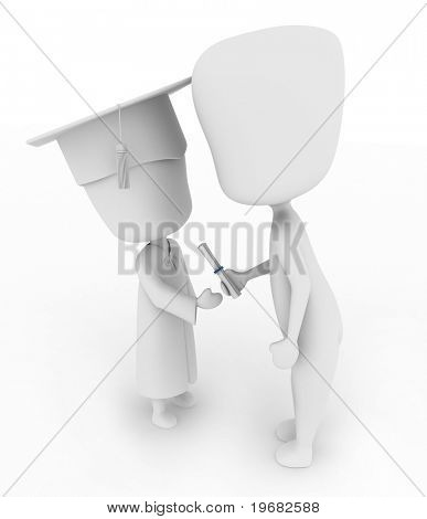 3D Illustration of a Kid Accepting His Diploma