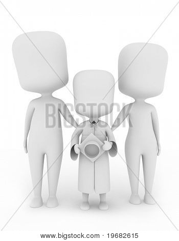 3D Illustration of a Child Graduate Posing with His Family
