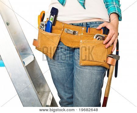 detail of handywoman isolated on white background