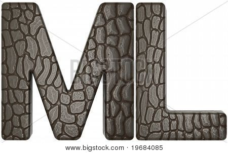 Alligator Skin Font M And L Capital Letters
