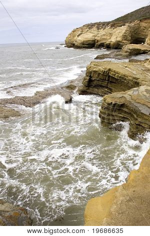 Pacific surf on rocks