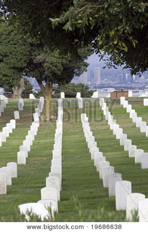 cemetery with a view of downtown San Diego