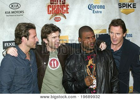 "CULVER CITY, CA - JUNE 5: Bradley Cooper, Sharlto Copley, Quinton Jackson, and Liam Neeson arrive at the 4th annual Spike TV's ""Guy's Choice"" held June, 5, 2010 at Sony Studios in Culver City, CA."