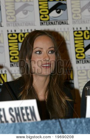 SAN DIEGO, CA - JULY 22: Olivia Wilde answers questions at a press conference for