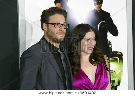 HOLLYWOOD - JAN. 10:  Seth Rogen and fiancée Lauren Miller arrive at the