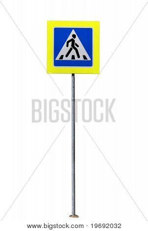 Belorussian Crosswalk Traffic Sign With Bright Reflecting Material Border  From Belarus Isolated Ove