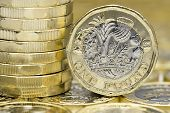 New One Pound Coins Macro Detail. Sides And Back. poster
