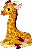 Постер, плакат: Иллюстрация маленький милый Жираф теленка с бантом