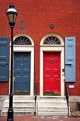 picture of lamp post  - colorful doorway entrance in historic philadelphia - JPG