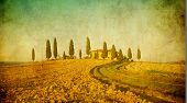 stock photo of paysage  - vintage tuscan landscape typical paysage of Tuscany - JPG