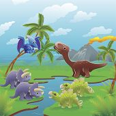 stock photo of pterodactyl  - Cute dinosaurs in prehistoric scene - JPG