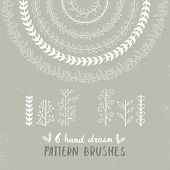 Six Unique Hand Drawn Floral Brush Collection. Vector Botany Brushes For You Design With Hand Drawn poster