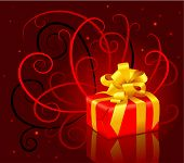 picture of christmas-present  - christmas present box with a gold bow  - JPG