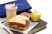 stock photo of school lunch  - School lunch of sandwich juice and snacks on a textbook - JPG
