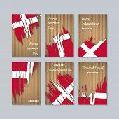 Denmark Patriotic Cards For National Day. Expressive Brush Stroke In National Flag Colors On Kraft P poster