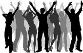 picture of party people  - Silhouettes of lots of people dancing on white background - JPG