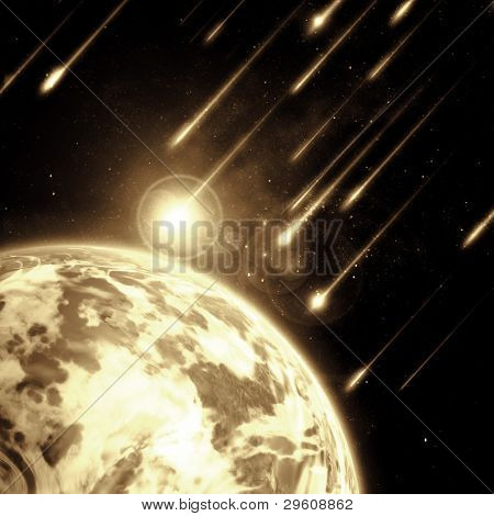 Earth in space with a flying asteroids, abstract background