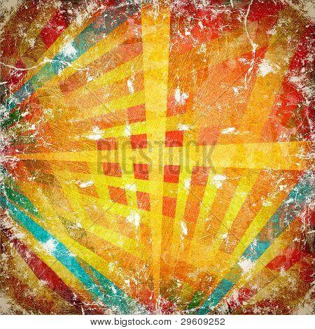 Multicolor Sunbeams grunge background. A vintage poster.