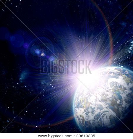 earth in space, with stars abstract background