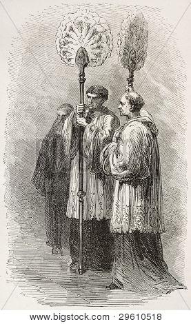 Papal Flabellum carriers old illustration. Created by Neuville, published on Le Tour du Monde, Paris, 1867