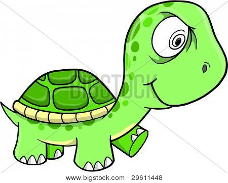 Toxic Crazy Green Turtle Vector Illustration Art