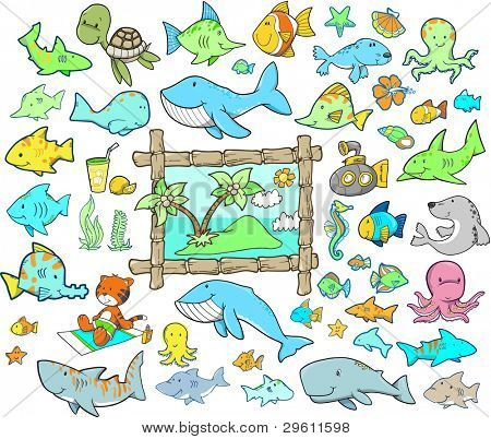 Cute Summer Beach Ocean Animal Vector Illustration Cartoon Design Elements Set