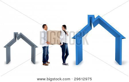 Couple moving into a bigger house - isolated over a white background