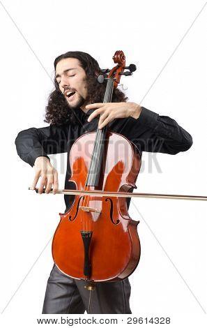 Mann spielt Cello bei weiß