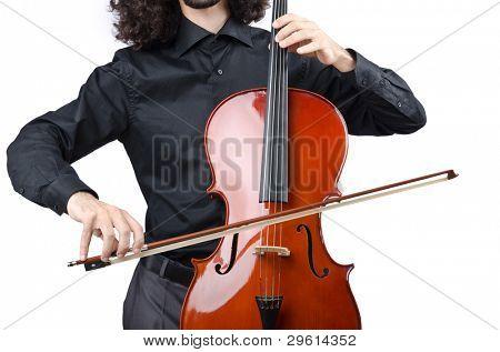 Man playing cello on white